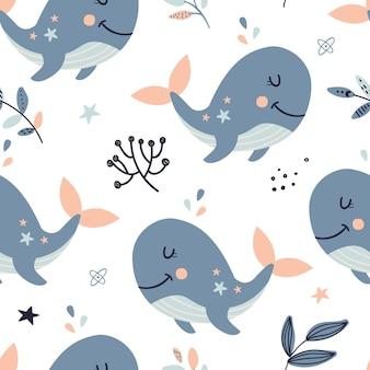 Naadloos patroon met hemelwalvissen.