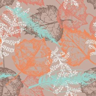 Naadloos patroon met herfstbladeren