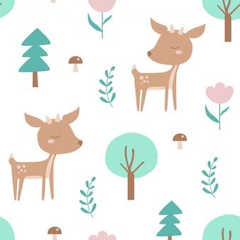 Naadloos patroon met herten en planten.