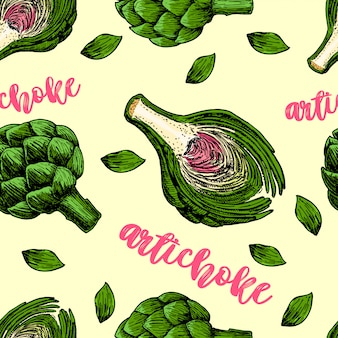 Naadloos patroon met het artisjoksymbool. artisjok schets naadloos patroon.