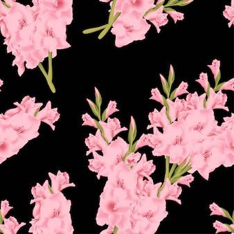 Naadloos patroon met het boeket van de gladiolenbloem