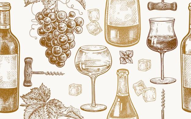 Naadloos patroon met het drinken van wijn.