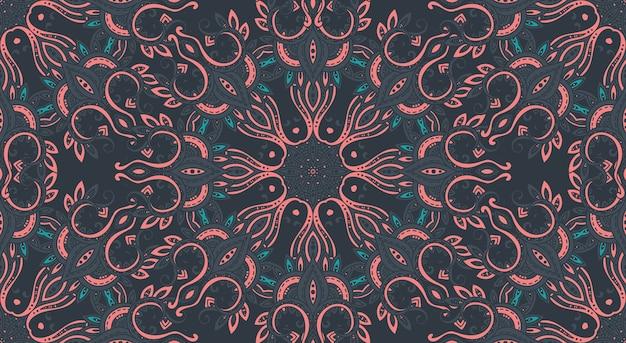 Naadloos patroon met het hand getrokken aziatische ornament van paisley. amulet met etnisch. donkere mooie eindeloze achtergrond.