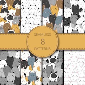 Naadloos patroon met het leuke beeldverhaal van de katjesfamilie, illustratie