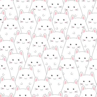 Naadloos patroon met het leuke beeldverhaal van de katjesfamilie