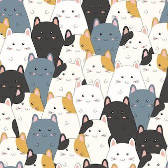Naadloos patroon met het leuke beeldverhaal van de katjesfamilie.