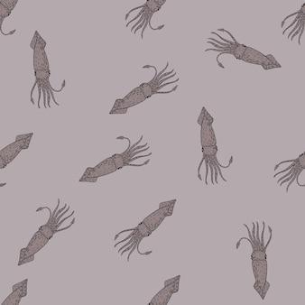 Naadloos patroon met het onderwaterornament van zeevruchteninktvissen
