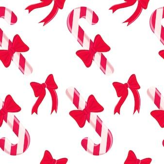 Naadloos patroon met het ontwerpelementen van kerstmissnoepjes.