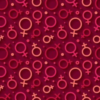 Naadloos patroon met het vrouwelijke geslachtssymbool.