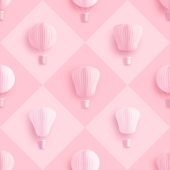 Naadloos patroon met hete luchtballon
