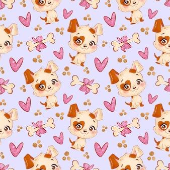 Naadloos patroon met honden en harten