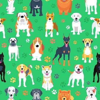 Naadloos patroon met honden plat ontwerp