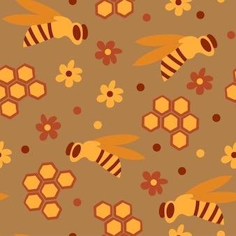 Naadloos patroon met honingbijen in een honingraat - grappig schattig patroon in cartoonstijl