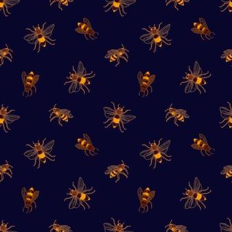 Naadloos patroon met honingbijen