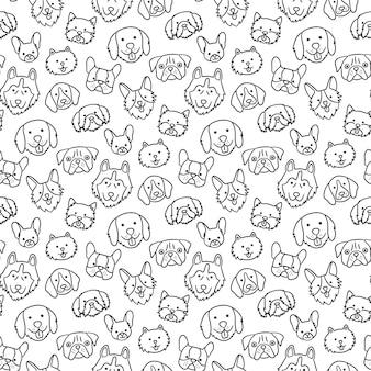 Naadloos patroon met hoofden van verschillende rassenhonden. Premium Vector
