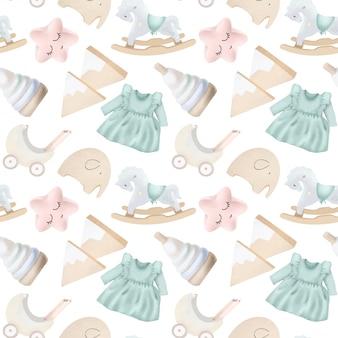 Naadloos patroon met houten speelgoed en voorwerpen voor meisjes