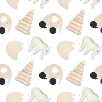 Naadloos patroon met houten speelgoed voor kinderen