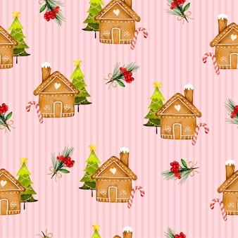 Naadloos patroon met huis en bloem