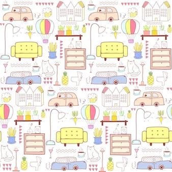 Naadloos patroon met huismeubilair
