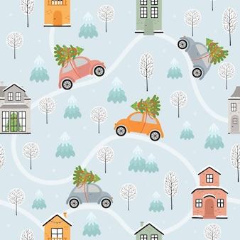 Naadloos patroon met huizen en auto's in de winter. vector illustratie, eps