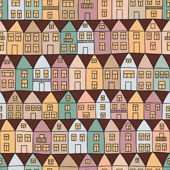 Naadloos patroon met huizen en bomen. vector illustratie