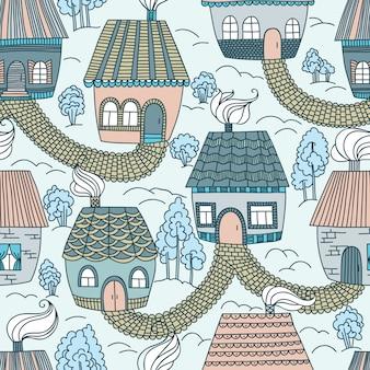Naadloos patroon met huizen en bomen.