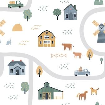 Naadloos patroon met huizen, wegen en auto's. hand getekende vectorillustratie van een dorp of boerderij.
