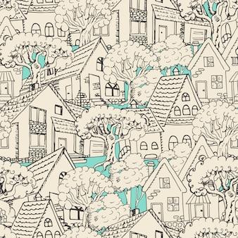 Naadloos patroon met huizen