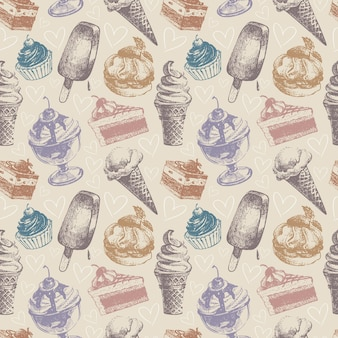 Naadloos patroon met ijs en gebak