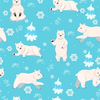 Naadloos patroon met ijsberen.