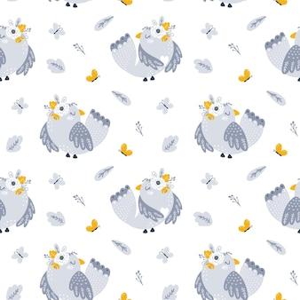 Naadloos patroon met illustraties van bloemen en vogels