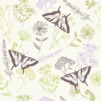 Naadloos patroon met inkt hand getrokken vlinders, kruiden en bloemen