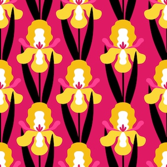 Naadloos patroon met irisbloemen op roze achtergrond.