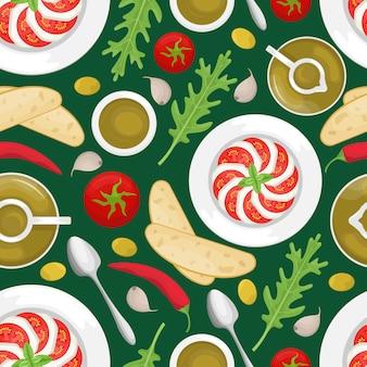 Naadloos patroon met italiaanse keuken.