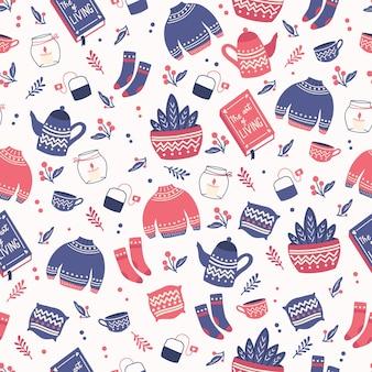 Naadloos patroon met items van het hyggeconcept. kleurrijke illustratie