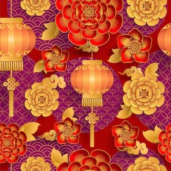 Naadloos patroon met japanse elementen