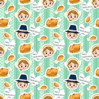 Naadloos patroon met jongen, meisje en gebraden kip.