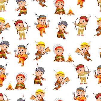 Naadloos patroon met jongens en meisjes indiaan