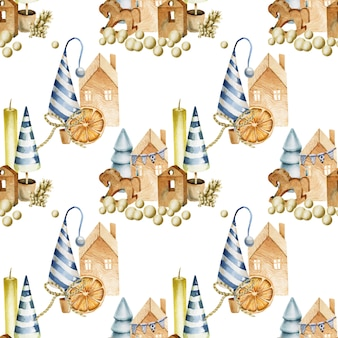 Naadloos patroon met kaarsen, kegels, kerstbomen, houten speelgoed