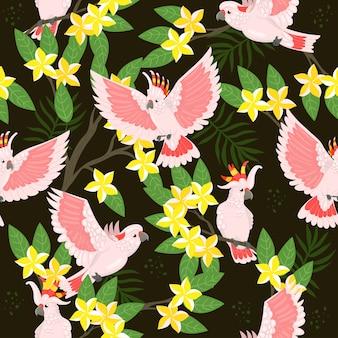 Naadloos patroon met kaketoe en bloemen.
