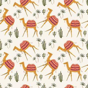 Naadloos patroon met kameel.