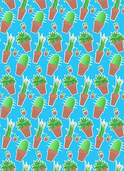 Naadloos patroon met kamerplanten in potten