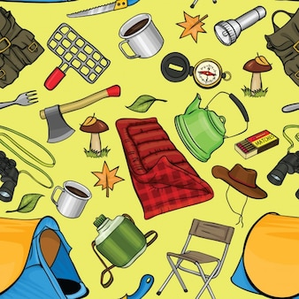 Naadloos patroon met kampeerspullen in cartoon-stijl