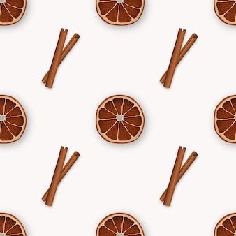 Naadloos patroon met kaneel en stukjes sinaasappel.