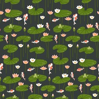 Naadloos patroon met karper en lotus op dark
