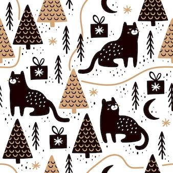 Naadloos patroon met katten en kerstmisbomen.