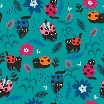 Naadloos patroon met katten - lieveheersbeestjes.