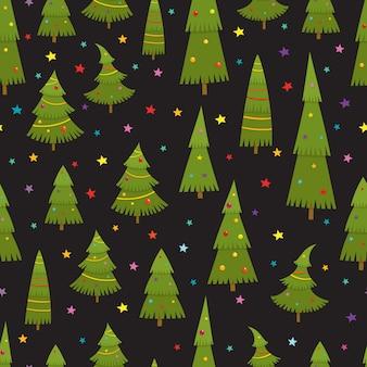 Naadloos patroon met kerstbomen in cartoon-stijl