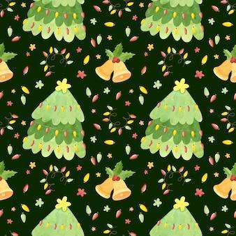 Naadloos patroon met kerstbomen jingle bells hulstbladeren en slingers holiday