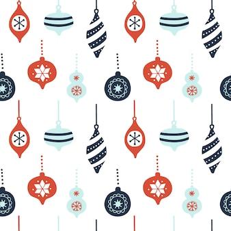 Naadloos patroon met kerstboom decoraties.